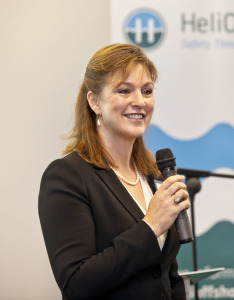 HeliOffshore chief executive Gretchen Haskins speaking at the group's launch event in October 2014. Image courtesy HeliOffshore.