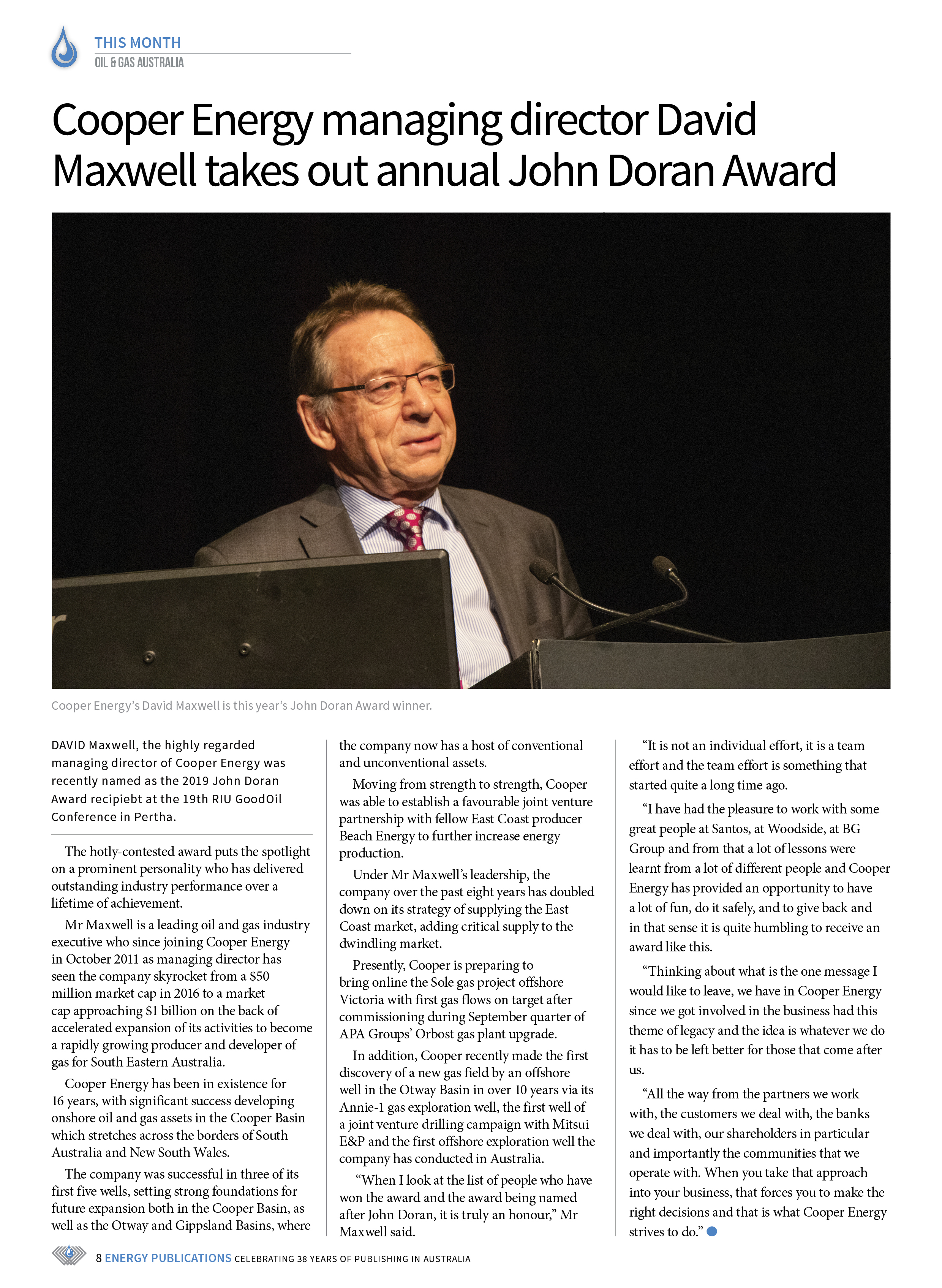 Oil & Gas Australia – October 2019 – Page 10